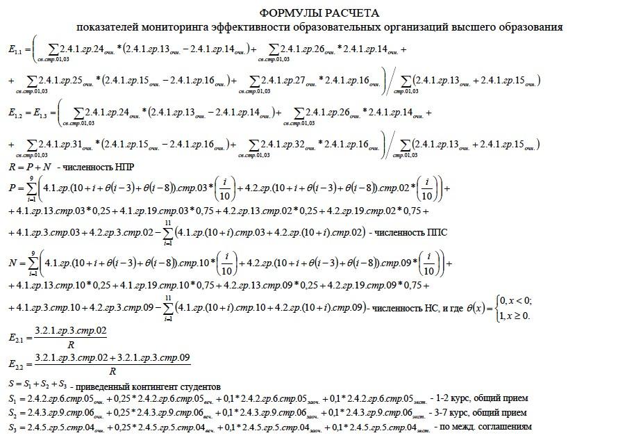 Формула оценки эффективности вузов (2013 год)